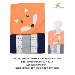 Luvable Friends Hooded Towel and 5pcs Washcloths - 05256