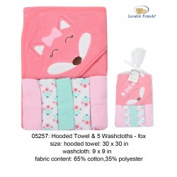 Luvable Friends Hooded Towel and 5pcs Washcloths - 05257