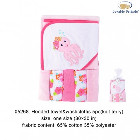 Luvable Friends Hooded Towel and 5pcs Washcloths - 05268