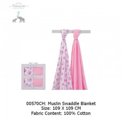 Little Treasure 2pcs Muslim Swaddle Blankets - Floral (00570)