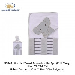 Luvable Friends Hooded Towel and 5pcs Washcloths - Elephant (57849)