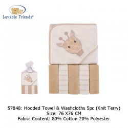 Luvable Friends Hooded Towel and 5pcs Washcloths - Giraffe (57848)