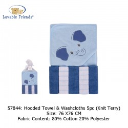 Luvable Friends Hooded Towel  and  5pcs Washcloths - Blue Elephant (57844)