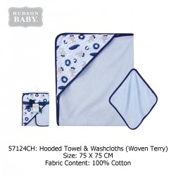 Hudson Baby Hooded Towel and Washcloth - Shark (57124)