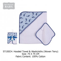 Hudson Baby Hooded Towel and Washcloth - Sailboat Narwhal (57150)