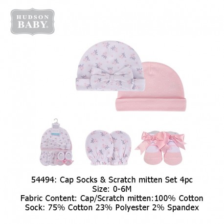Hudson Baby Cap, Scratch Mitten and Socks Set - Pink/Grey Floral (54494)