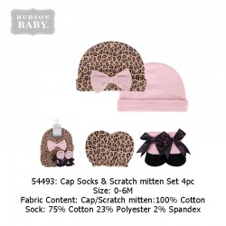 Hudson Baby Cap, Scratch Mitten and Socks Set - Leopard (54493)