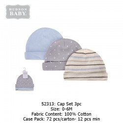 Hudson Baby 3pcs New Born Baby Caps - Gray Star (52313)