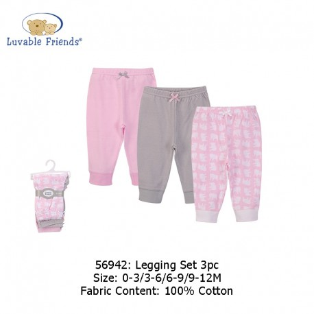Luvable Friends 3pcs Tapered Ankle Pants - Pink Elephant (56942)