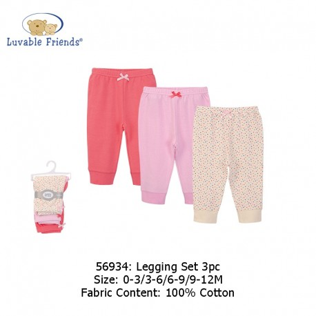 Luvable Friends 3pcs Tapered Ankle Pants - Pink Confetti Dot (56934)