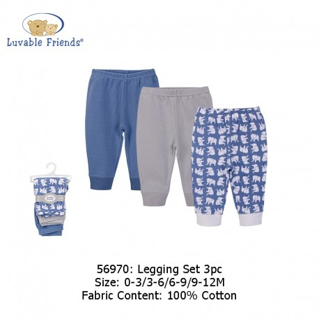 Luvable Friends 3pcs Tapered Ankle Pants - Blue Elephant (56970)