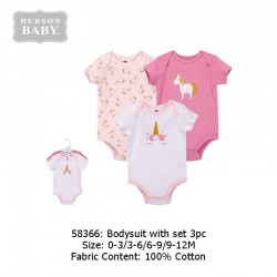 Hudson Baby 3pcs Hangging Interlock Baby Suits - Pink Unicorn (58366)