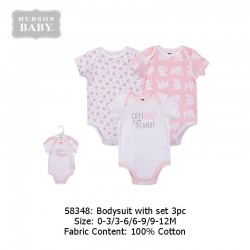 Hudson Baby 3pcs Hangging Interlock Baby Suits - Pink Elephant (58348)