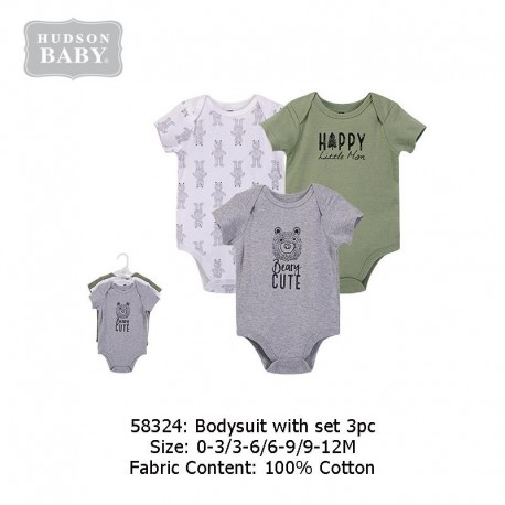 Hudson Baby 3pcs Hangging Interlock Baby Suits - Black Bear (58324)