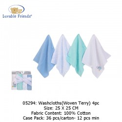 Luvable Friends Washcloths 4pc - Woven Terry 05294
