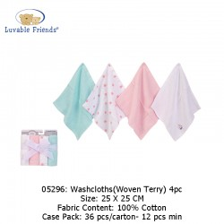 Luvable Friends Washcloths 4pk - Woven Terry 05296