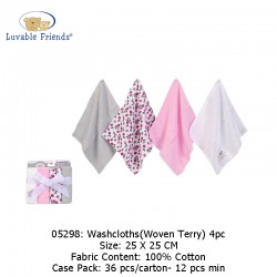 Luvable Friends Washcloths 4pk - Woven Terry 05298