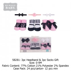 Hudson Baby Giftset 3pc Headband & 3pc Socks - 58281