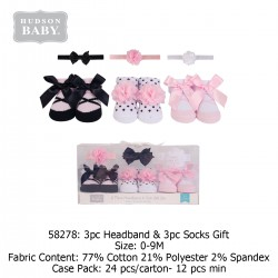 Hudson Baby Giftset 3pc Headband & 3pc Socks - 58278