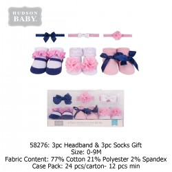 Hudson Baby Giftset 3pc Headband & 3pc Socks - 58276