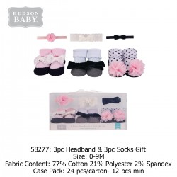 Hudson Baby Giftset 3pc Headband & 3pc Socks - 58277