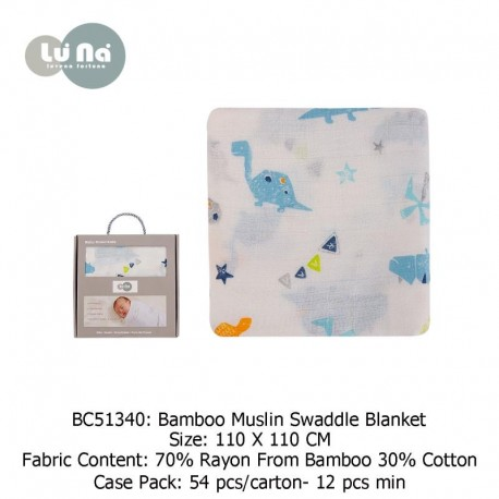 Luvable Friends Bebe Comfort Bamboo Muslin Swaddle Blanket - BC51340