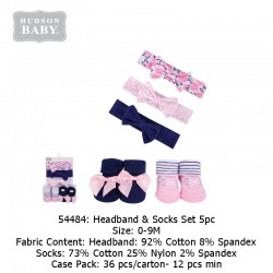 Hudson Baby Headband Socks Set 5pc - 54484