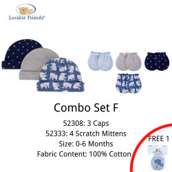 Hudson Baby New Born Baby Hat 3pk + Scratch Mitten 4pk (Combo F)