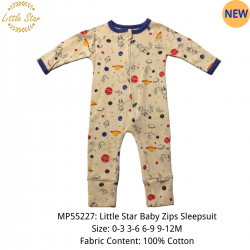 Luvable Friends Little Star Baby Zips Sleepsuit - MP55227