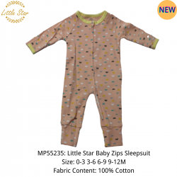 Luvable Friends Little Star Baby Zips Sleepsuit - MP55235