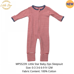 Luvable Friends Little Star Baby Zips Sleepsuit - MP55239