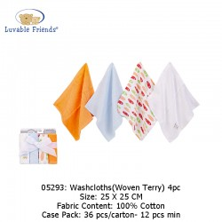 Luvable Friends Washcloths 4pk - Woven Terry 05293