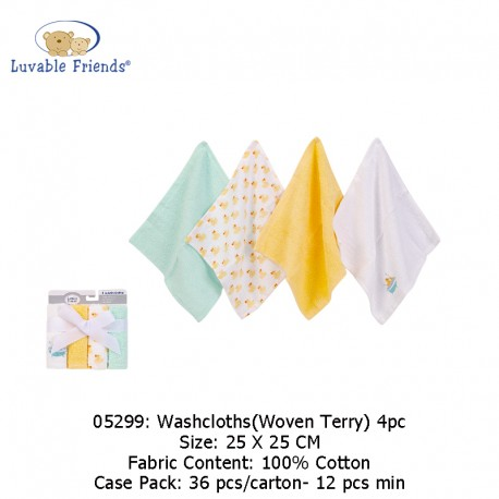 Luvable Friends Washcloths 4pk - Woven Terry 05299