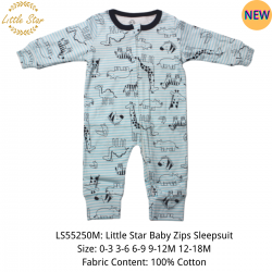 Luvable Friends Little Star Baby Zips Sleepsuit - LS55250M