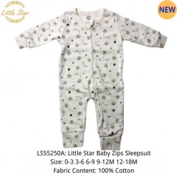 Luvable Friends Little Star Baby Zips Sleepsuit - LS55250A