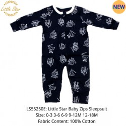 Luvable Friends Little Star Baby Zips Sleepsuit - LS55250E
