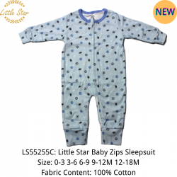Luvable Friends Little Star Baby Zips Sleepsuit - LS55255C