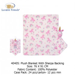 Luvable Friends Plush Blanket with Sherpa Backing - 40405