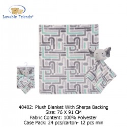 Luvable Friends Plush Blanket with Sherpa Backing - 40402