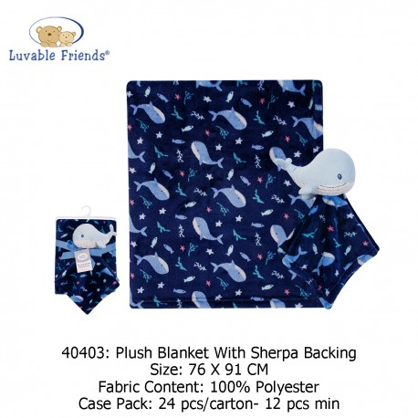 Luvable Friends Plush Blanket with Sherpa Backing - 40403