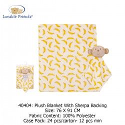 Luvable Friends Plush Blanket with Sherpa Backing - 40404