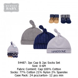 Hudson Baby 3pc Caps & 2pc Socks Set - 54487