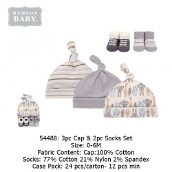 Hudson Baby 3pc Caps & 2pc Socks Set - 54488