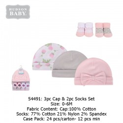Hudson Baby 3pc Caps & 2pc Socks Set - 54491