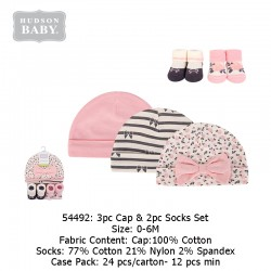 Hudson Baby 3pc Caps & 2pc Socks Set - 54492