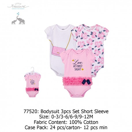 Little Treasure Hanging Bodysuit 3pk Set Short Sleeve - 77520