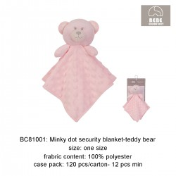 Bebe Comfort Minky Dot Security Blanket (Teddy Bear) - BC81001