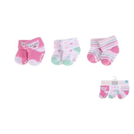 Hudson Baby NB Terry Socks with Non Skid 3pk - 00377CH