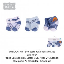 Hudson Baby NB Terry Socks with Non-Skid (3's/Pack) 00372CH