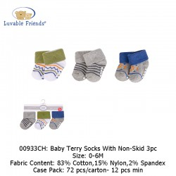 Luvable Friends Baby Terry Socks with Non-Skid (3's/Pack) 00933CH
